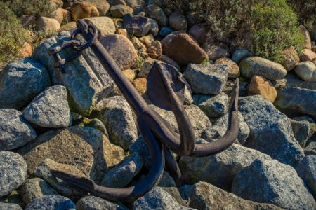 anchor, stones, nature