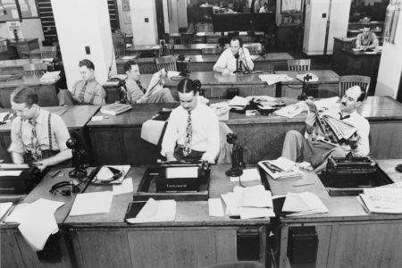 new york times newspaper, press room, 1942